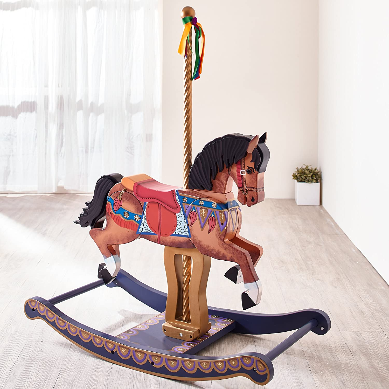 teamson kids  carousel style hand painted wooden rocking horse  - teamson kids  carousel style hand painted wooden rocking horse for kidsamazoncouk baby