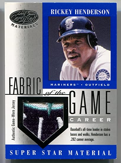 2001 Leaf Certified Materials RICKEY HENDERSON Fabric of the Game Career  Rare 3 Color Game Worn dca8a7f93