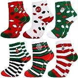 Christmas Fuzzy Socks,Aniwon 6-Pair Xmas Cozy Slipper Socks Winter Warm Thick Home Socks For Women Girls