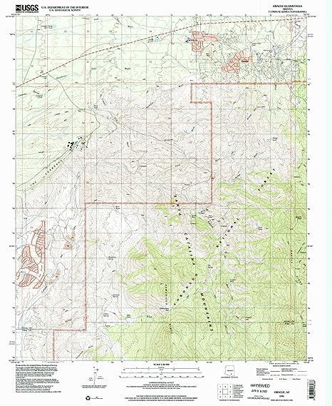 Map Of Oracle Arizona.Amazon Com Yellowmaps Oracle Az Topo Map 1 24000 Scale 7 5 X 7 5