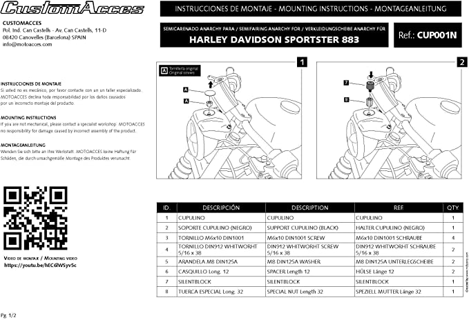 Customaccess AZ1116N T/ête de Fourche Mod/èle Dark Night Noir Customacces f/ür Harley Davidson Sportster 1200 Superlow XL1200T 95-15