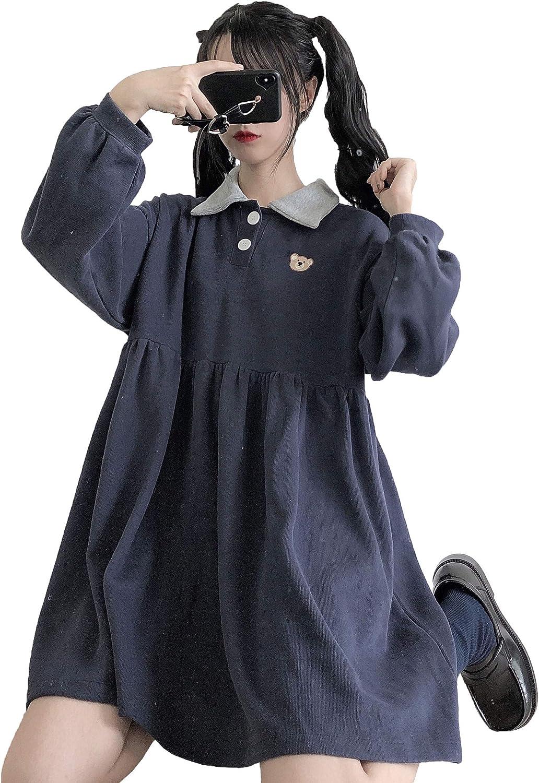 Packitcute Teen Girls Cute Dress Long Sleeve Lolita Casual Plus Size Comfy  A-Line Dresses