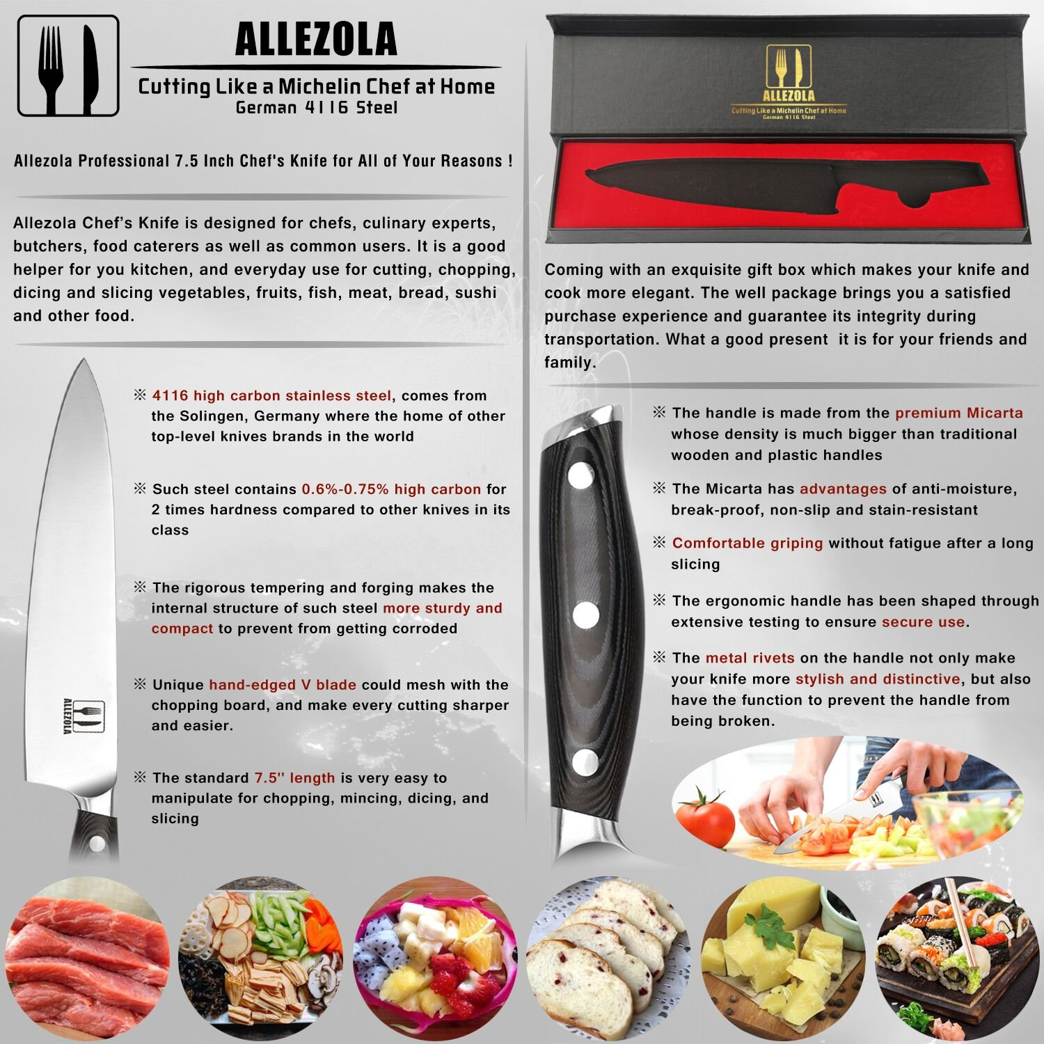 Allezola 7.5 Inch Professional Chef Knife Kitchen Knives German High Carbon Stainless Steel with Ergonomic Handle, Cooking knife for Home and Restaurant by Allezola (Image #2)