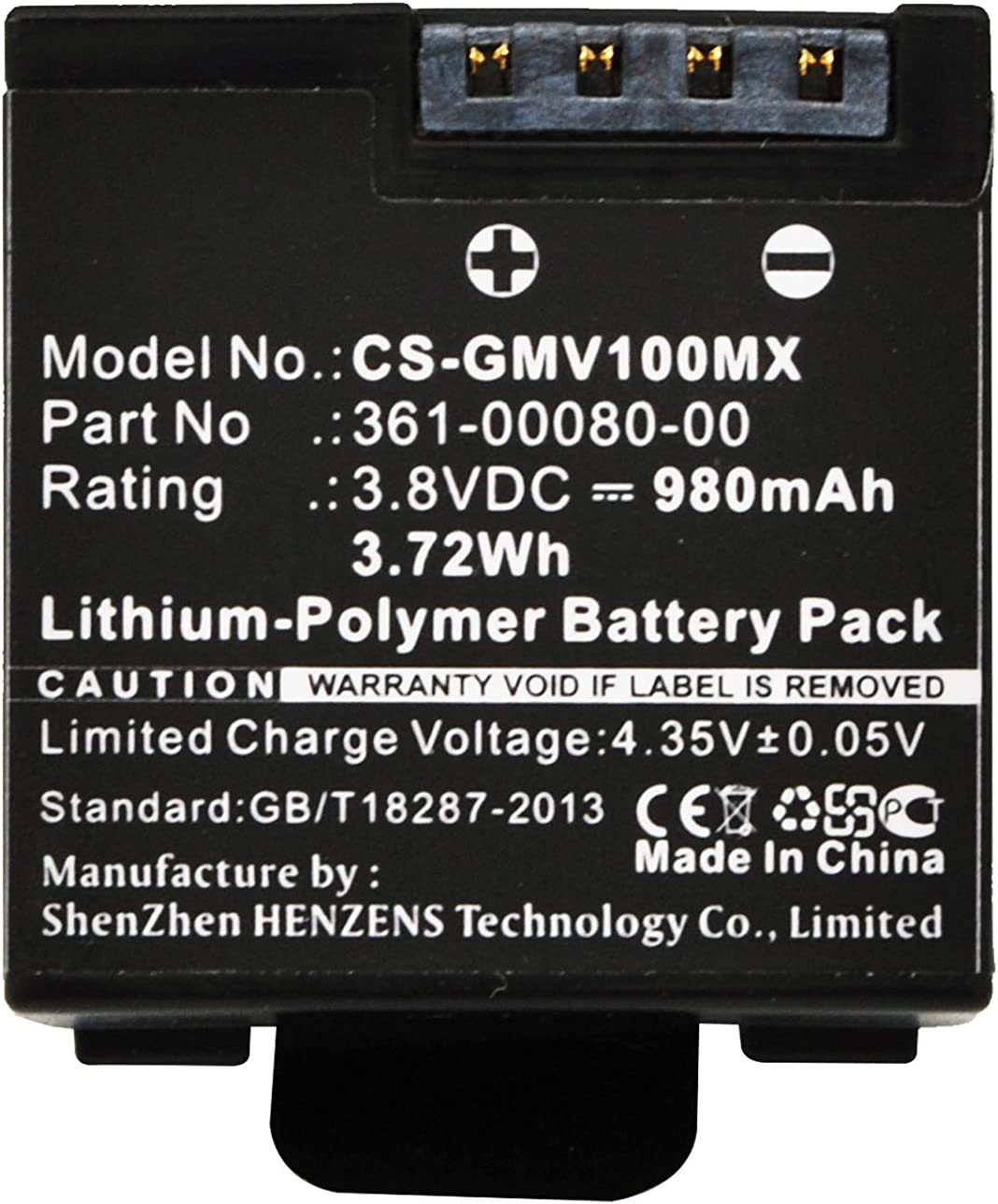 Replacement Battery for Garmin 010-12256-01 361-00080-00 Virb X