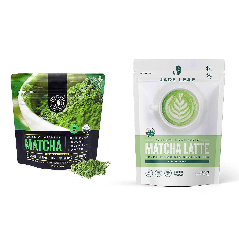 Jade Leaf Matcha + Latte Mix Bundle - Organic Matcha Green Tea Powder Culinary Pouch (30g) and Cafe Style Sweetened Matcha Latte Mix (150g)