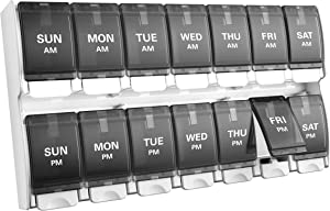 Weekly Pill Organizer 2 Times A Day, BUG HULL Easy Open Pill Case Organizer 7 Day AM PM Medicine Container Twice A Day Pill Box for Fish Oils, Vitamins, Supplements