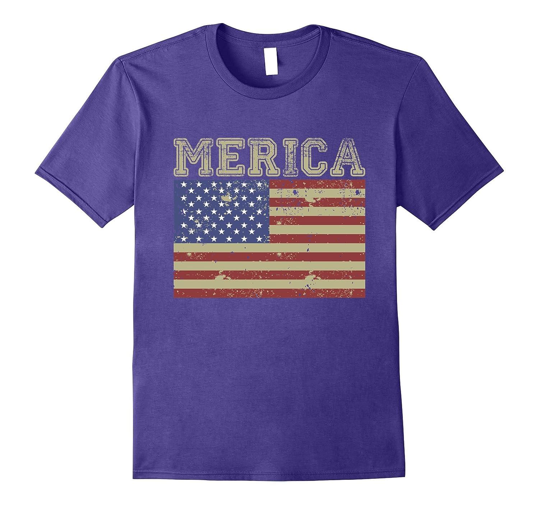 Vintage USA Flag Merica T-Shirt, American Flag, Veterans Day-Art