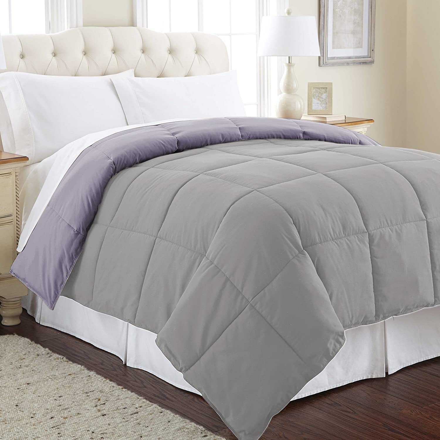 Ultra Soft Hypoallergenic Bedding-Medium Warmth for All Seasons-[Amethyst/Silver King