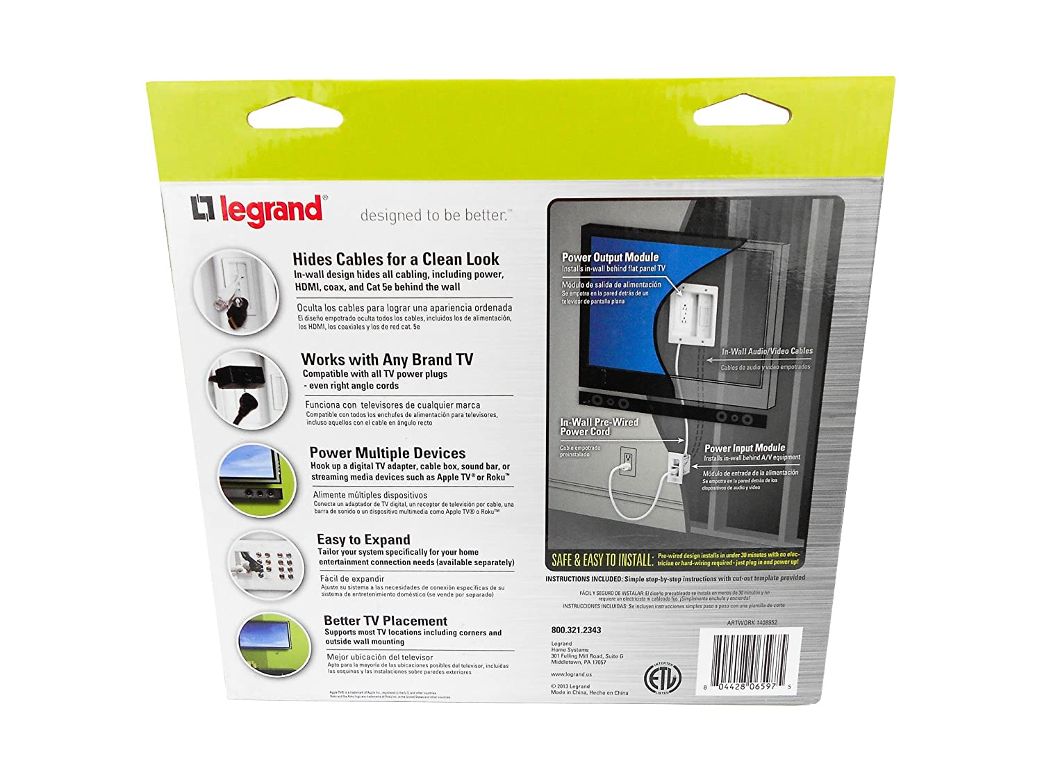 Buy Legrand Ht2202whv1 Wm Inwall Tv Power Kit Online At Low Prices  # Designe De Support De Television