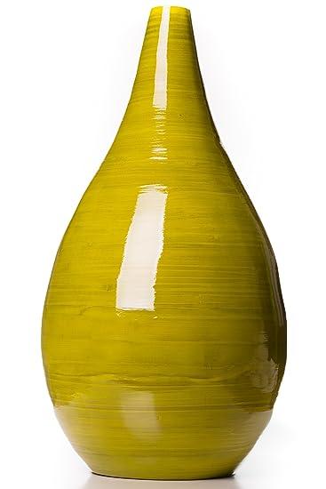 Bambus Deko Vase Raindrop Grun H 50 Cm Amazon De Kuche Haushalt