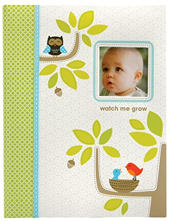 f1f1d2e7efaf C.R. Gibson Green and White Woodland Animal First Year Baby Memory Book for  Newborns