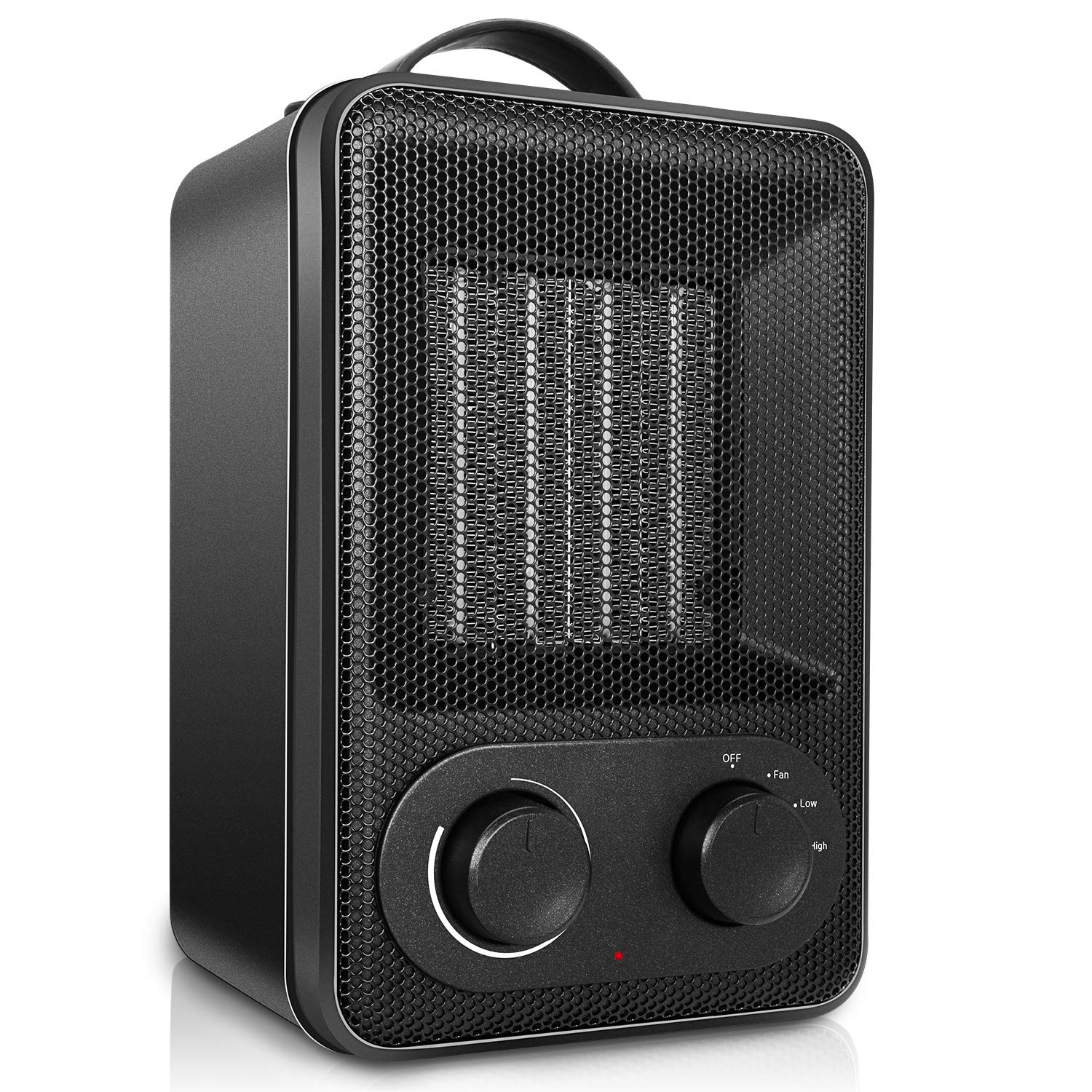 Space Heater with Adjustable Thermostat, 1500W 850W Adjustable Electric Heater, Portable Ceramic Heater with Tip-Over Overheat Protection, Suit for Small Middle Rooms, Office, Floor, Desk