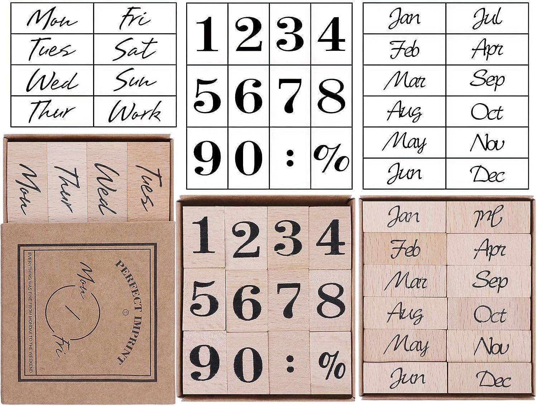 UCEC 32 Pieces Number Stamp, Wooden Rubber Stamp Set, Week Months Number Design Decorative Stamps Vintage Dairy Stamps for Card Making DIY Craft Scrapbooking