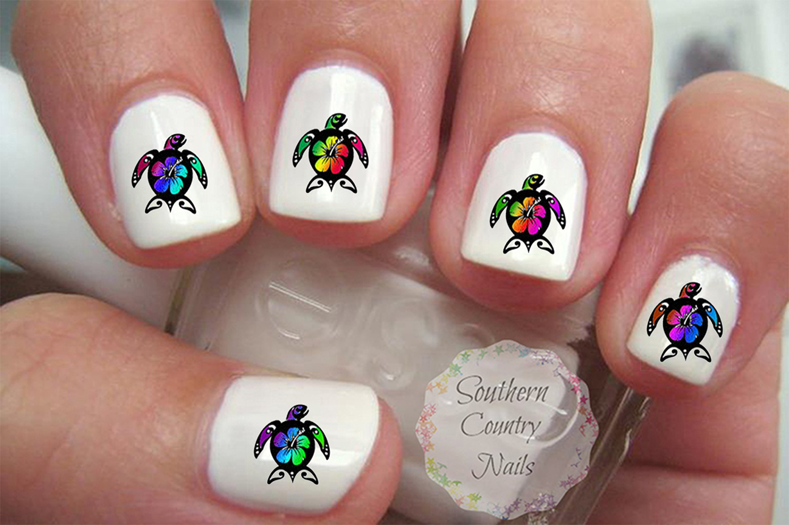 Amazon Sea Turtle Hibiscus Flower Family Nail Art Decals Beauty