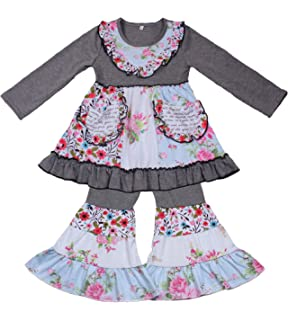 375793ad9d Yawoo Haan Kids Girls Ruffle Dress Pants Party Clothing Set Boutique Outfits