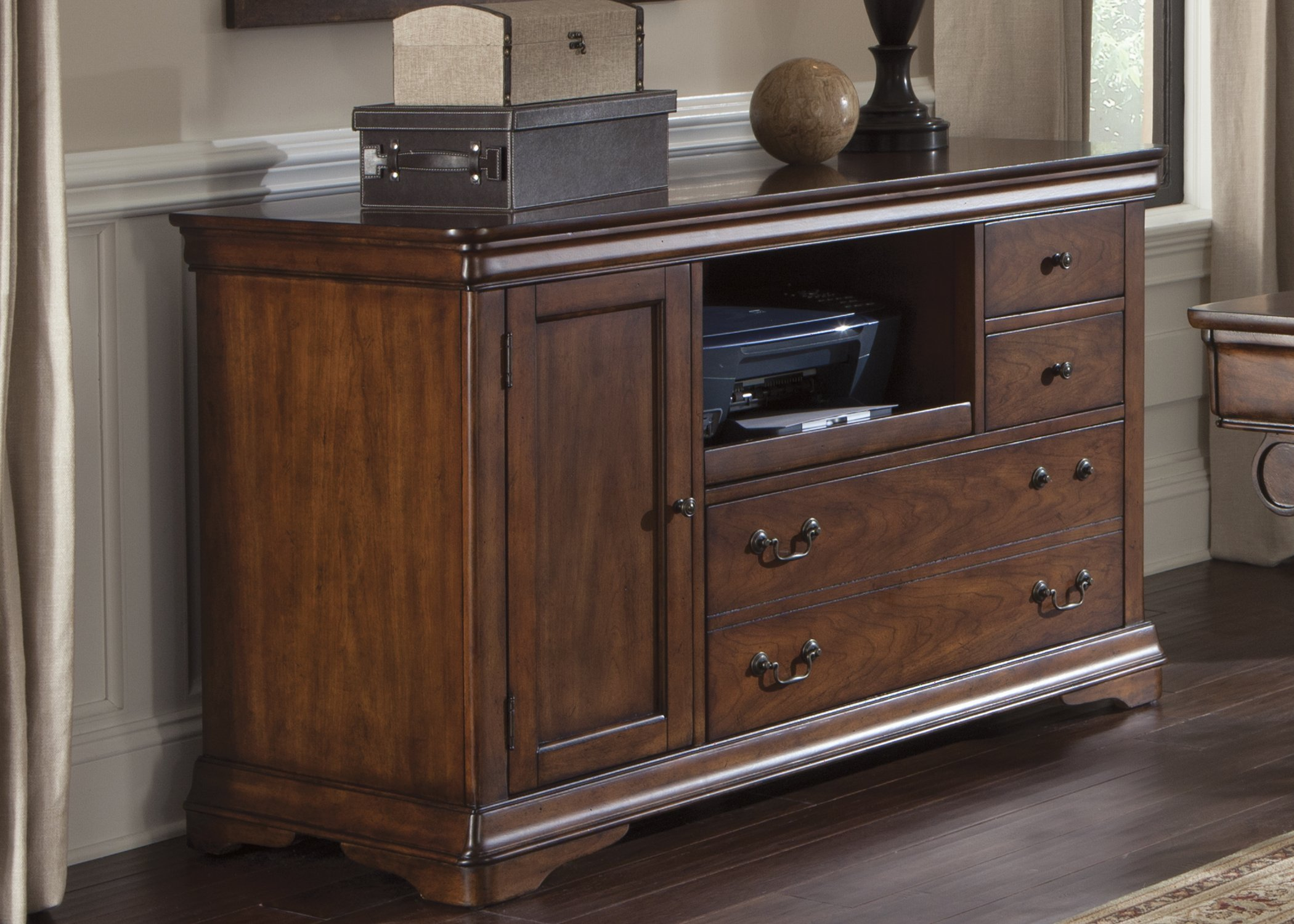 Liberty Furniture Industries 378-HO121 Brookview Home Office Credenza, Rustic Cherry Finish