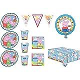 PEPPA PIG festa party 24 PIATTI 24 BICCHIERI 40 TOVAGLIOLI 1 TOVAGLIA 1 FESTONE 1 PALLONE