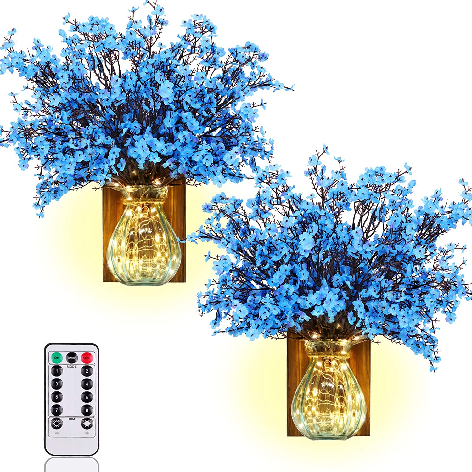 TianQin WY Artificial Flowers Handmade Wall Decor Hanging Design with LED Fairy Lights Living Decor (Blue)
