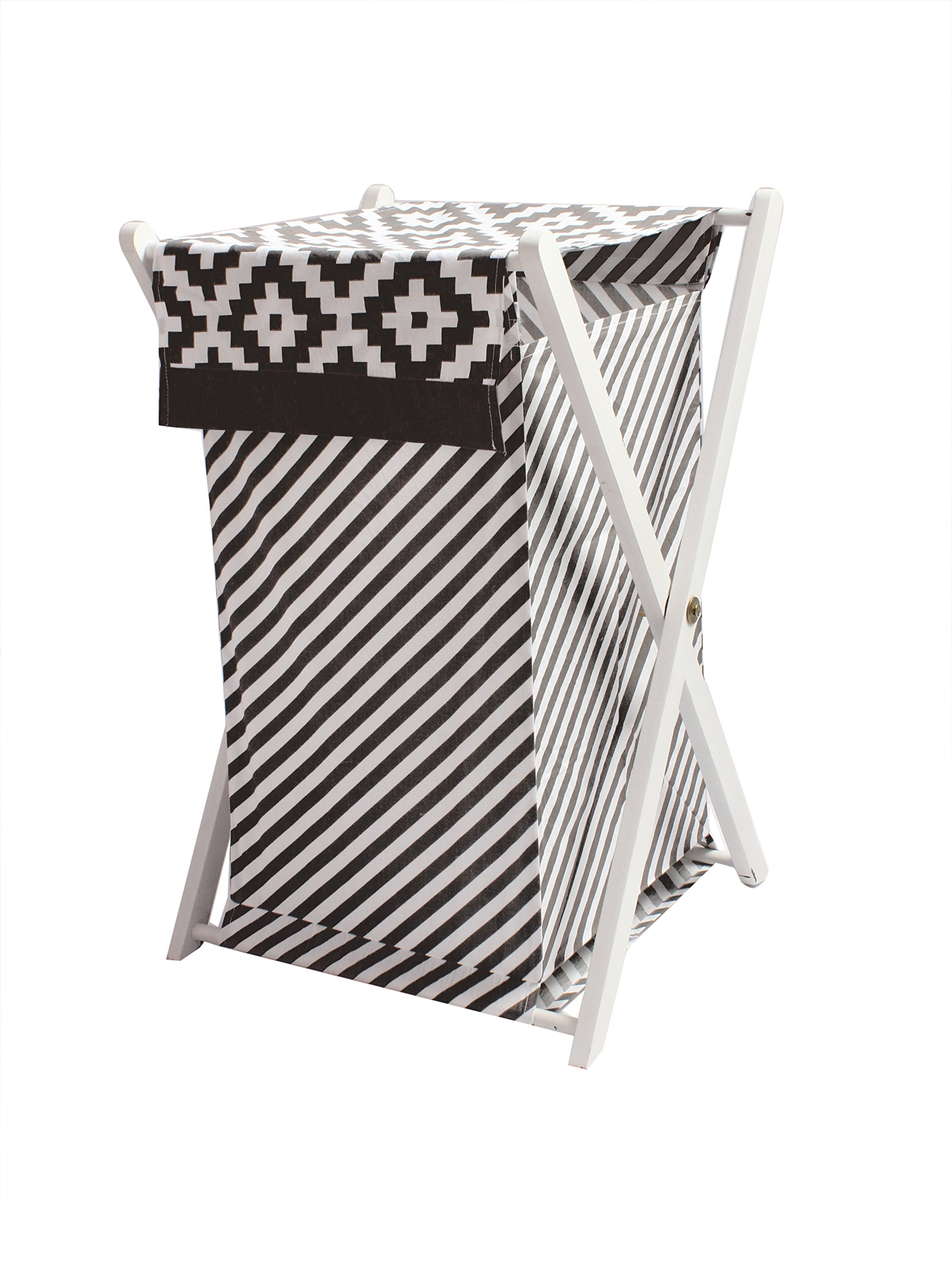 Bacati Love Hamper cover, Black/white