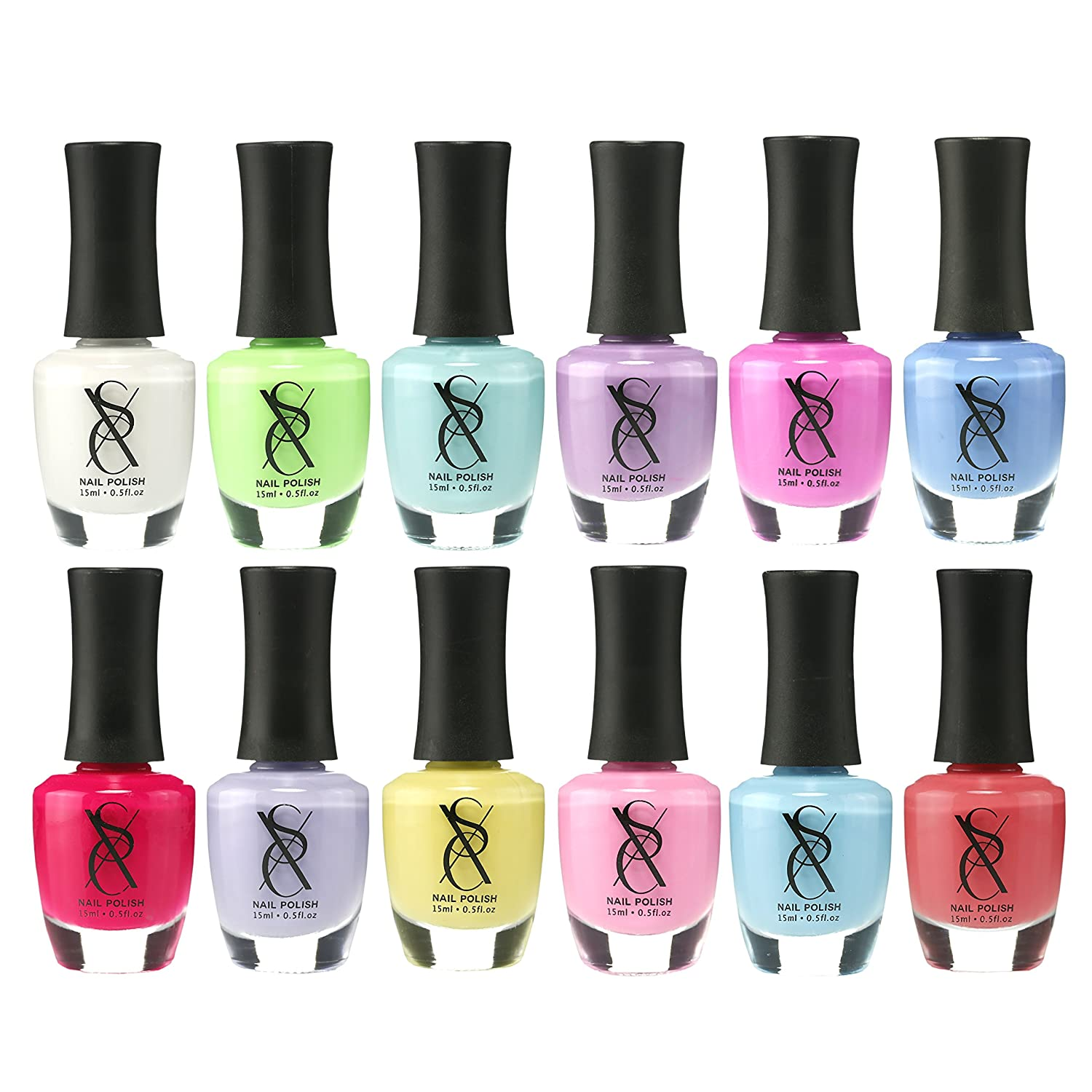 SXC Cosmetics Nail Polish Lacquer 15ml/0.5fl set (12 Color Set, 12E-PINK)