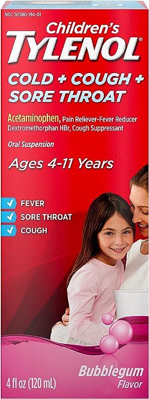 Children's Tylenol Cold, Cough, And Sore Throat Medicine, Bubblegum, 4 Fl. Oz