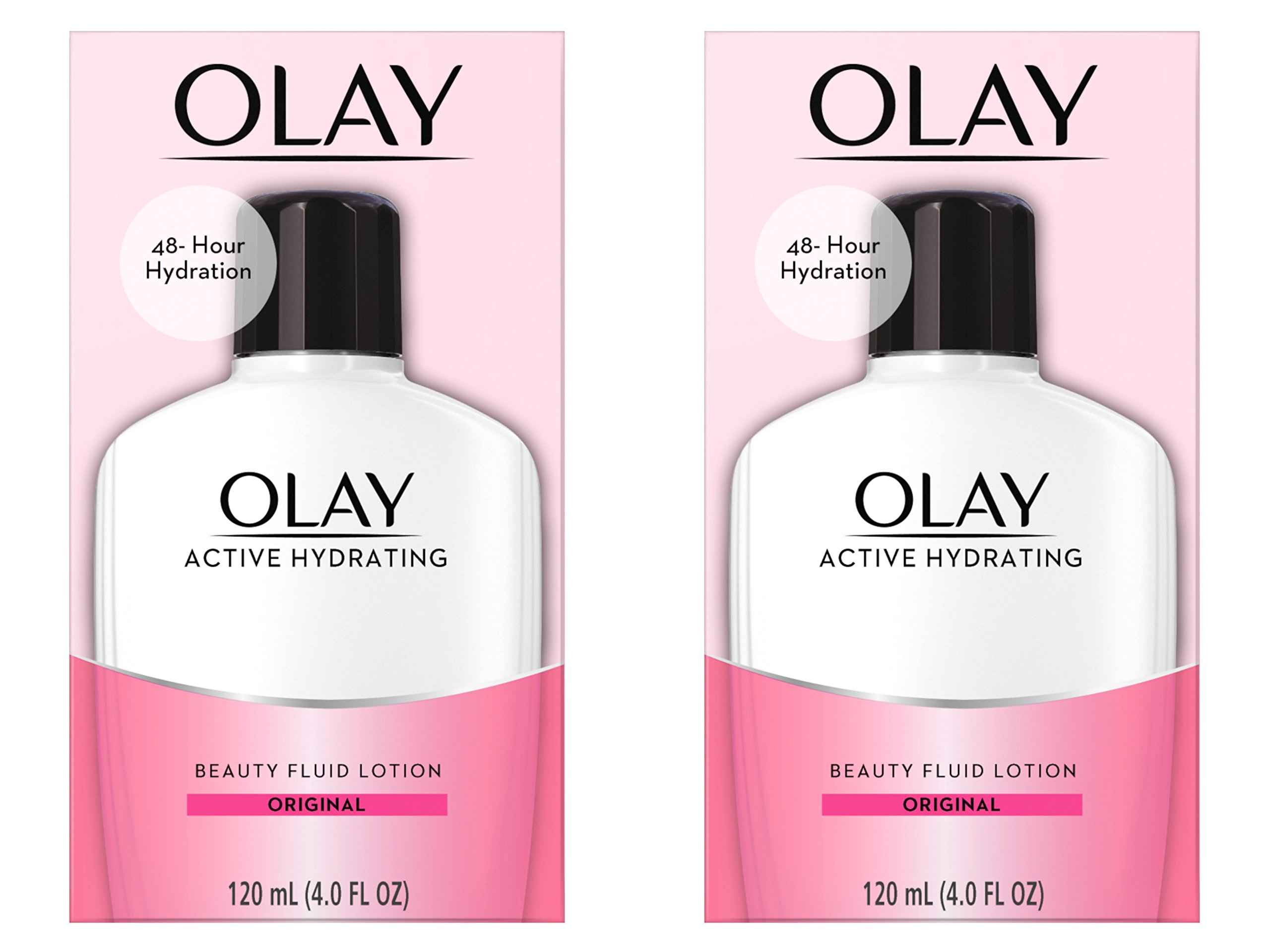 Face Moisturizer by Olay, Active Hydrating Beauty Fluid Lotion, Original Facial Moisturizer, 4 Oz. (Pack of 2) Packaging may Vary by Olay