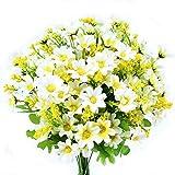 Turelifes mazzi di fiori artificiali finti, mini margherita, 7rami 28capi di seta floreali per l'ufficio, la casa, le decorazione di nozze, 4 pezzi White
