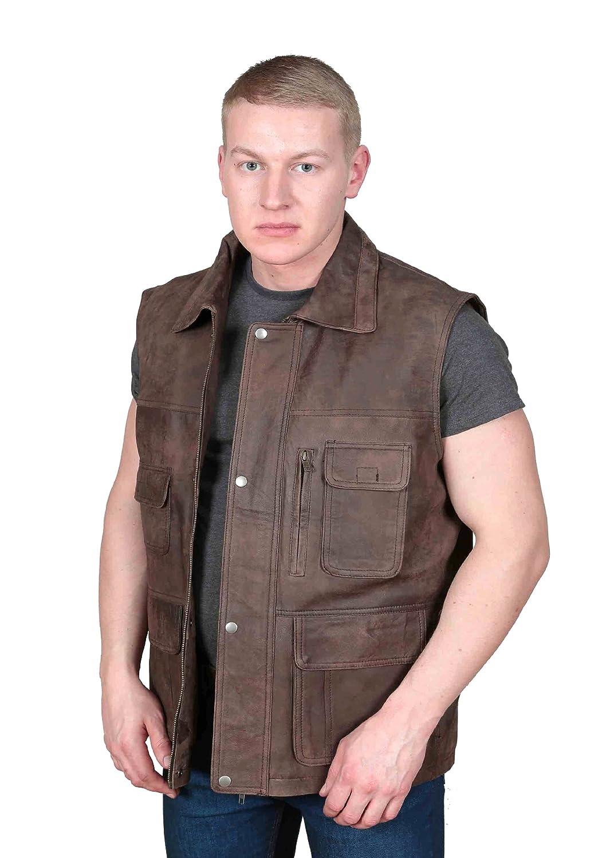 Countrymen Brown Leather Waistcoat Multi Pockets Hiking Walking Hunters Gilet- Boyles