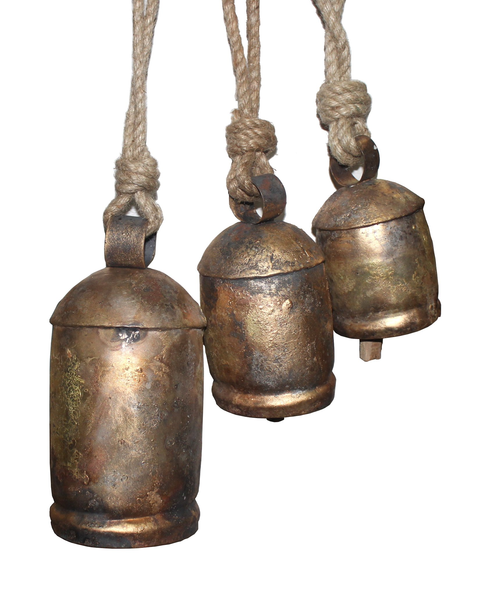 Crystalo - Set of 3 Harmony Bells - Wrought Iron with Brass Finish