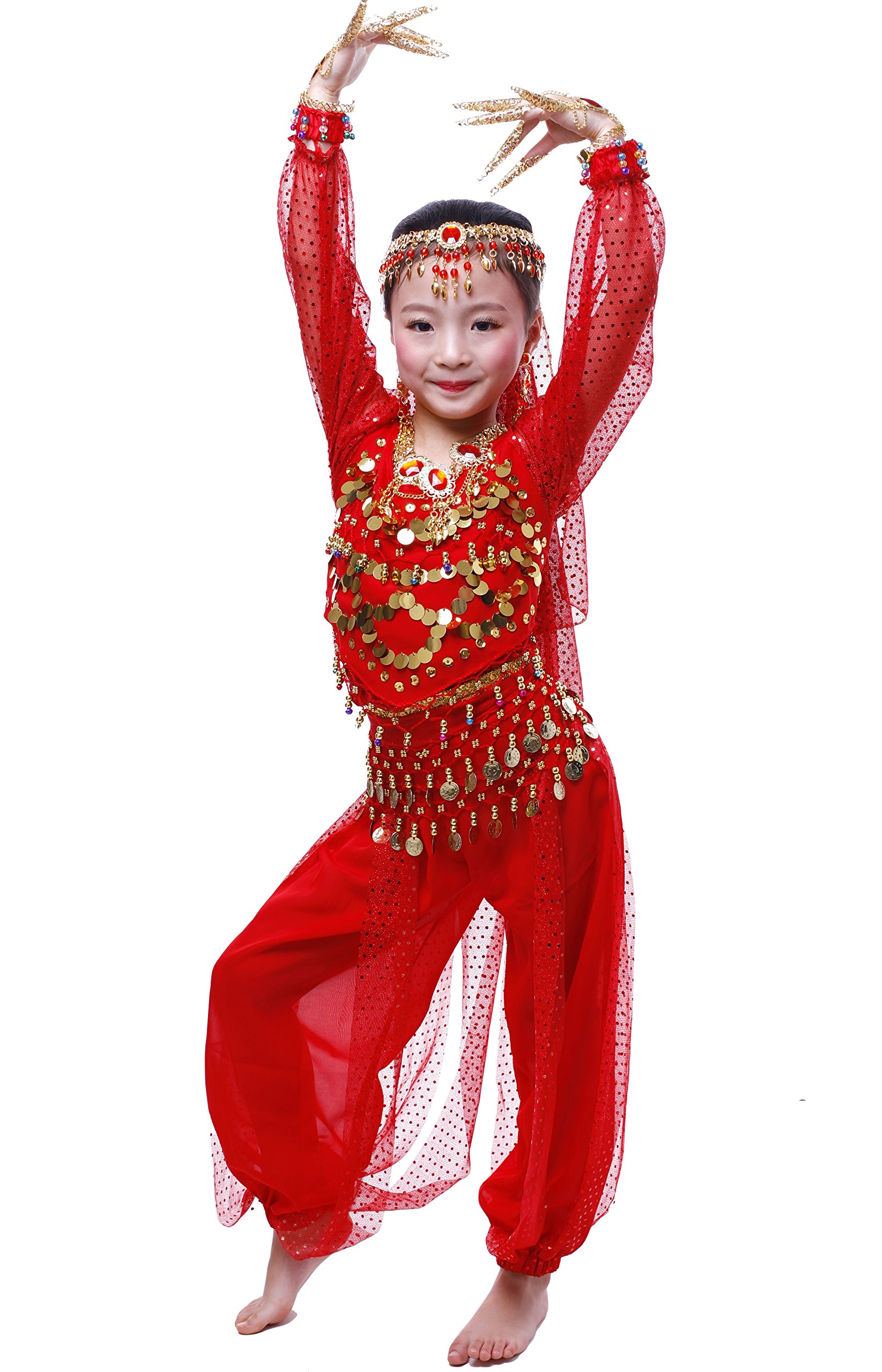 Astage Girls Long Sleeve Belly Dance Carnival Sets All accessories Red XL