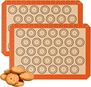 2 Baking Mats - Silicone, Food Safe Baking Mat, Tray Pan Liner Fat-free Dishes - Food-Grade Silicon Liner Reusable up to 2000 Times - Cookie Sheets - Perfect for Macaroon, Pastry, Bread