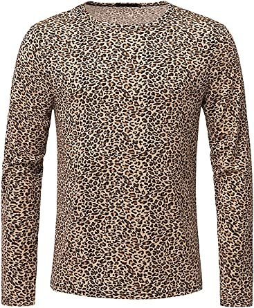 Men Leopard Print Short Sleeve T-Shirts Party Summer Casual Slim Fit Tops Blouse
