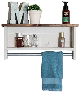 Amazon Com Drakestone Designs Bathroom Shelf With Towel Bar Solid