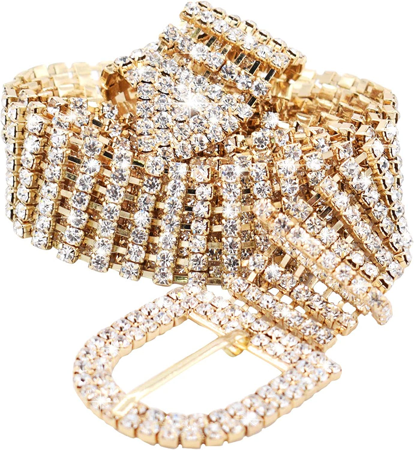 Shiny Rhinestone Belt for Women Girls with D-Buckle Waist Chain for Jeans Dress