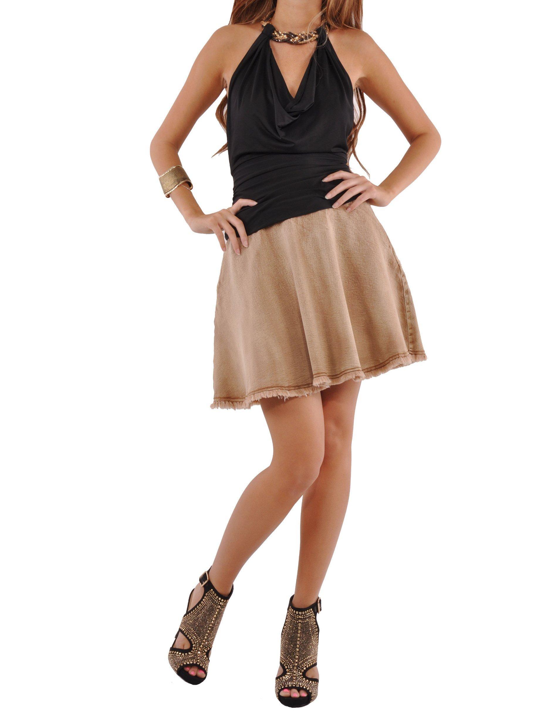 Style J Cute Flare Brown Denim Skirt-Brushed Brown-26(6)