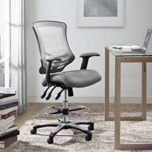 Modway Calibrate Mesh Drafting Gray - Reception Desk Chair - Tall Office Chair for Adjustable Standing Desks