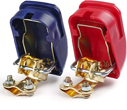 Lotfancy Auto Batterie Schnellklemmen Polklemmen Batterieklemmen 1 Paar Rot Blau Boot Pkw Klemmen Auto