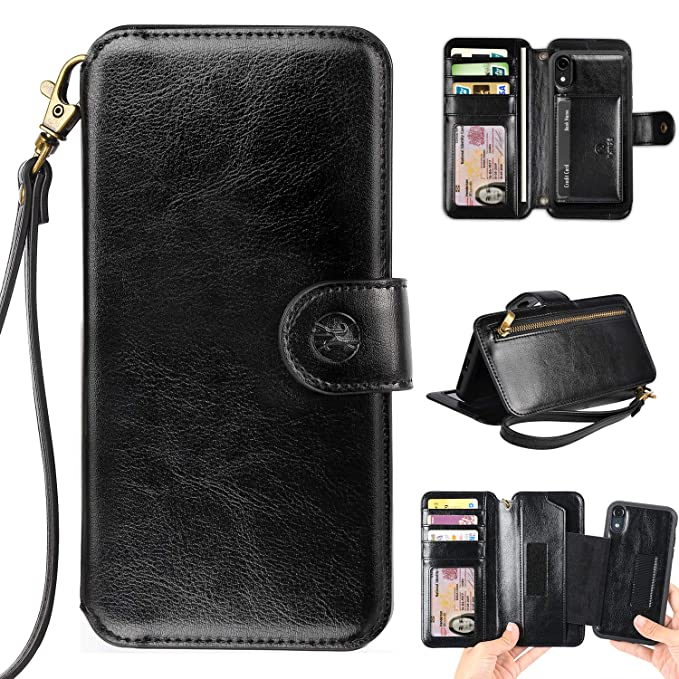 huge selection of d1255 95b28 Phone Wallet Case Clutch Compatible with iPhone XR 6.1 Apple Phone -  Wristlet Case Boutique Quality Vegan Leather Black - with Card Holder  Clutch ...
