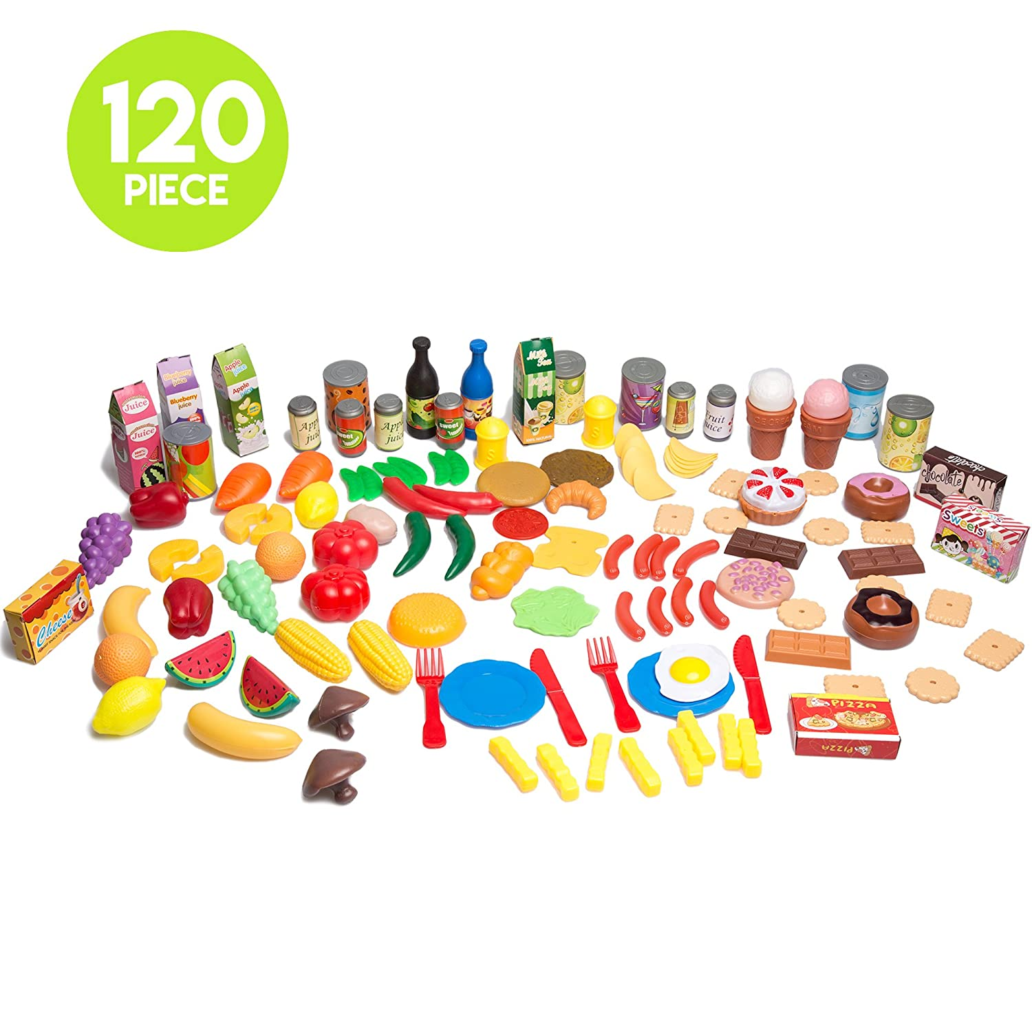 Amazon 120 Piece Pretend Food Playset Plastic Play Food