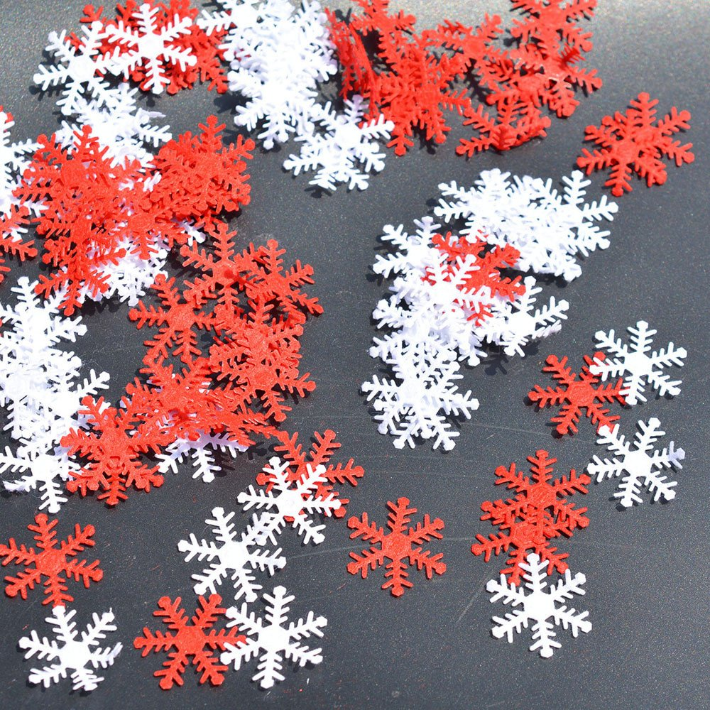 Pausseo 100Pcs/Set Non-Woven Fabric Classic Snowflake Ornaments Christmas Tree Holiday Party Home Decor Xmas Bauble Hanging Pendant Decoration Snowy Display DIY Festival Prop Gift Toys (Multicolor)