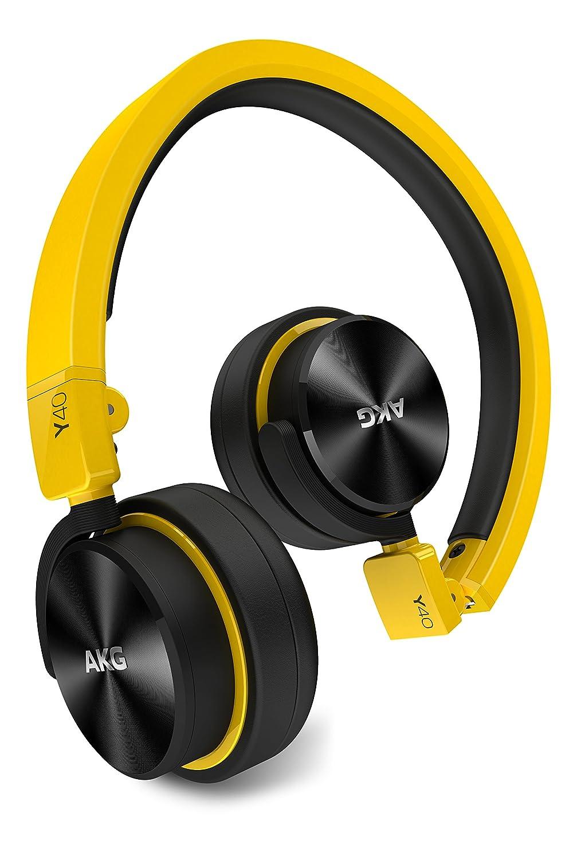 AKG Y40 mini Auriculares supraaurales ligeros portátiles y plegables con cable desmontable y mando de control/micrófono, compatible con dispositivos iOS de ...