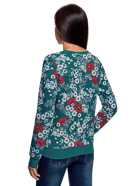 oodji Ultra Mujer Suéter Estampado de Algodón