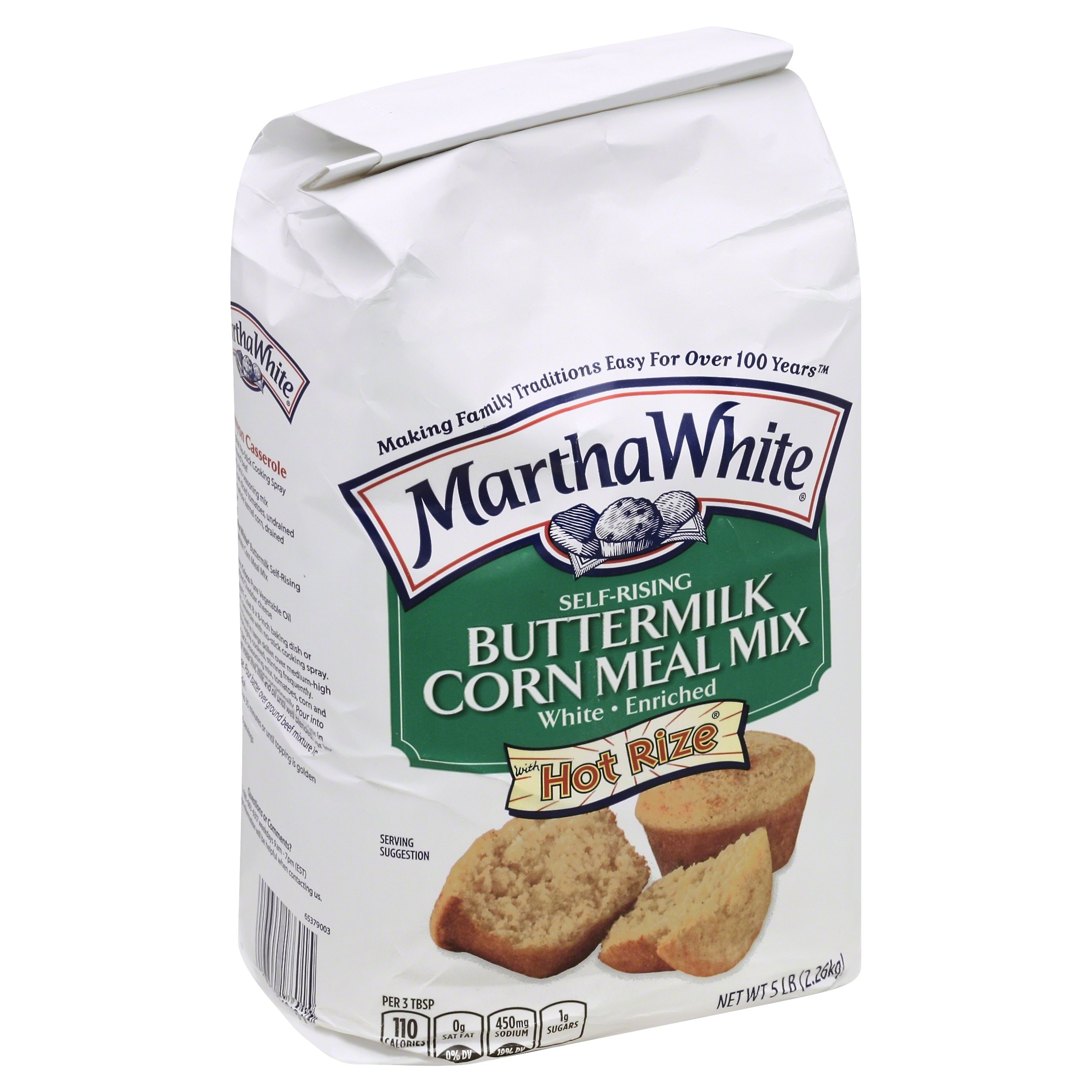 Martha White Buttermilk Self-Rising Enriched White Corn Meal Mix, 5 lb