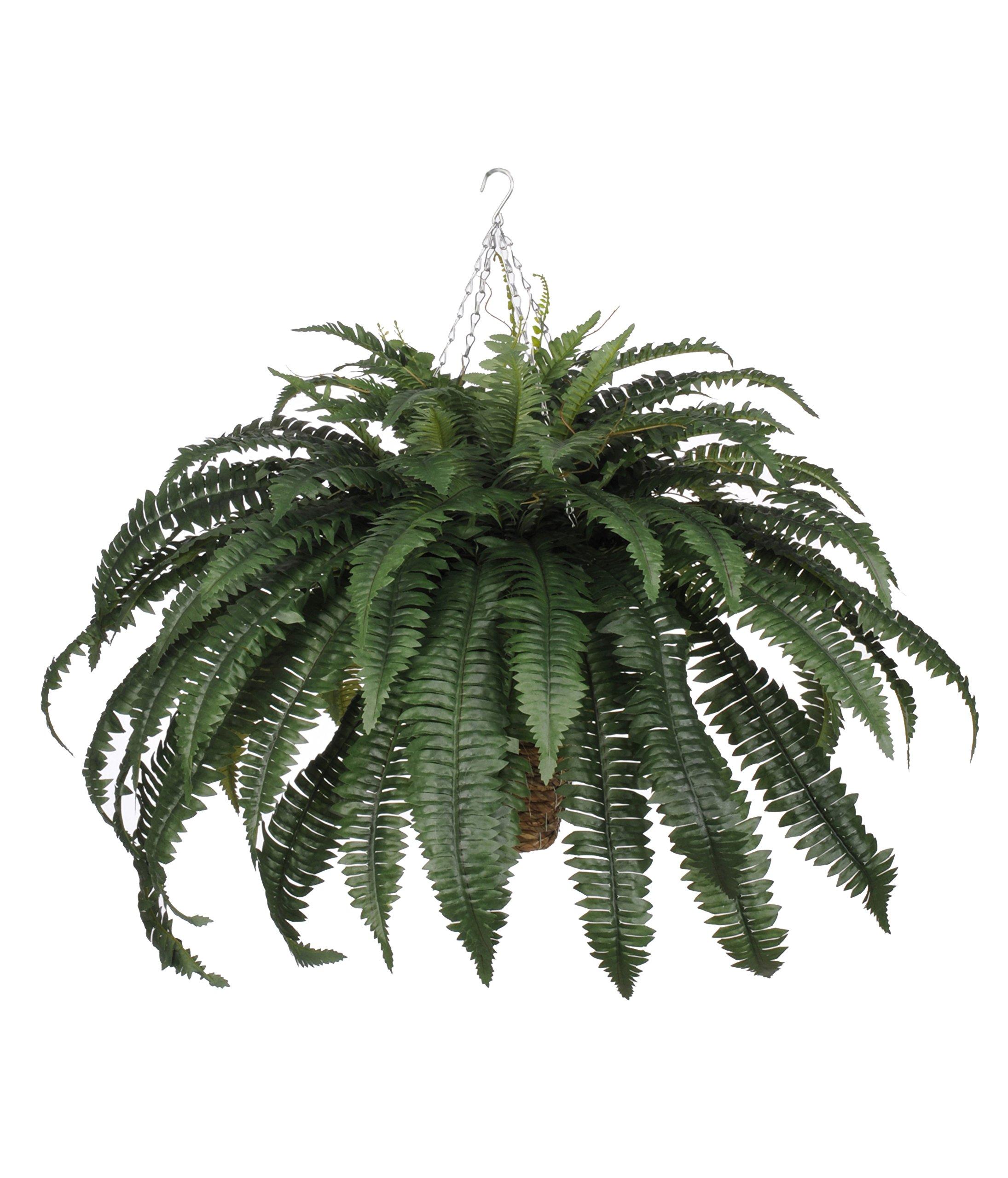 House-of-Silk-Flowers-Artificial-Fern-in-Beehive-Hanging-Basket