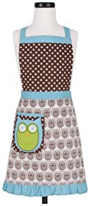 KAF Home Kid's Apron with 1 Pocket & Extra Long Ties – Adjustable Bib Hoot Apron - Machine Wash - Used in Kitchen, Gardening