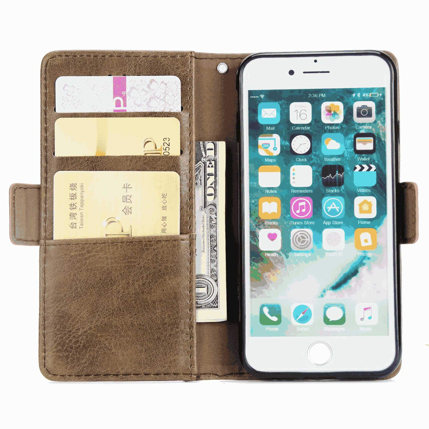 Cover for Samsung Galaxy S9 Leather Kickstand Cell Phone Cover Luxury Business Card Holders with Free Waterproof-Bag White3 Samsung Galaxy S9 Flip Case