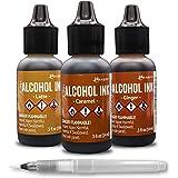 Tim Holtz Adirondack Alcohol Ink - Cabin Cupboard Set - Carmel - Ginger - Latte - Bundled with Moshify Blending Pen…