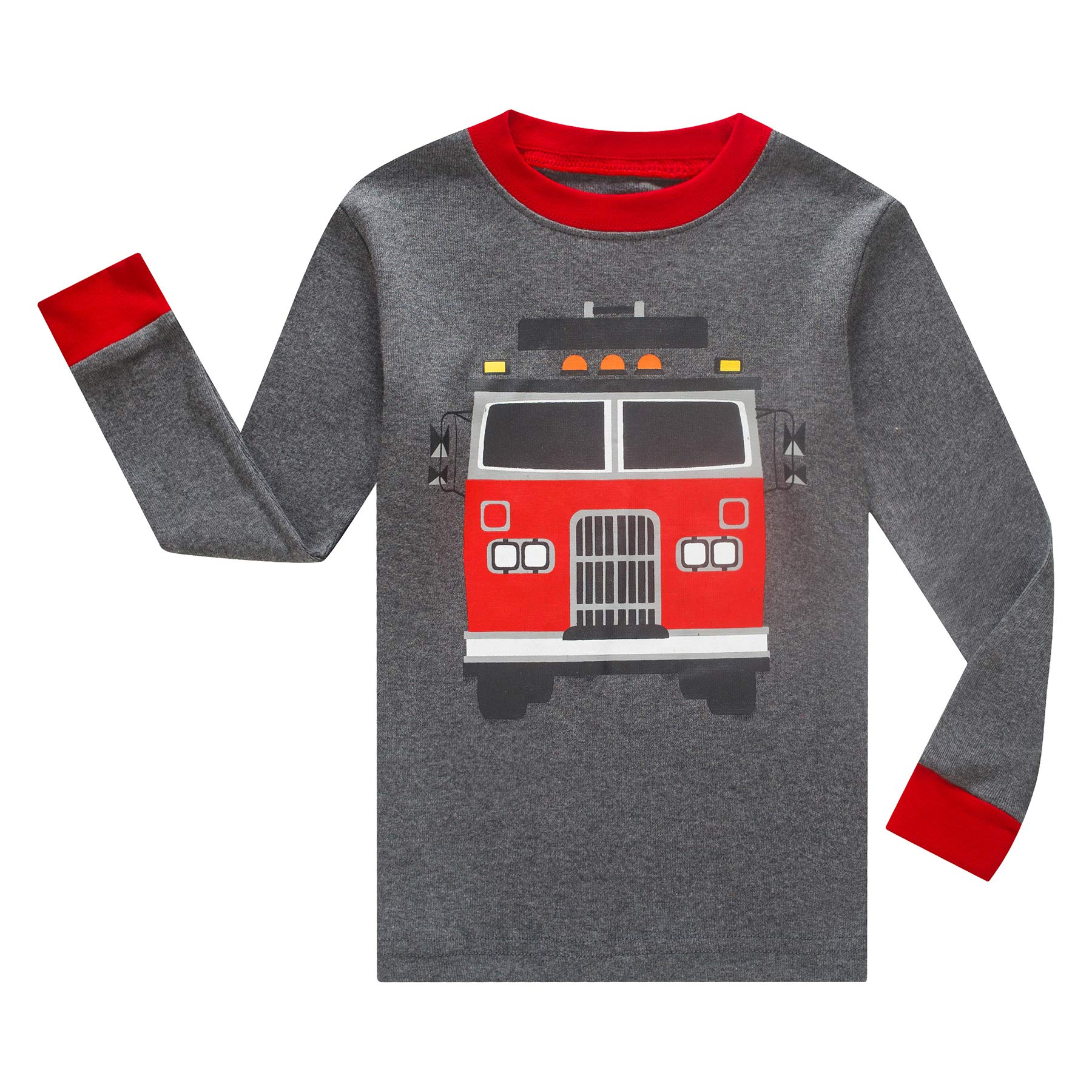 IF Pajamas Boys Sleepwear Pajama Set,  2T - Grey/Fire/Truck