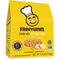 FreeYumm - Banana Maple Soft Baked Cookies - 21 Individually Wrapped Cookies - Allergen Free - Gluten Free - School Friendly