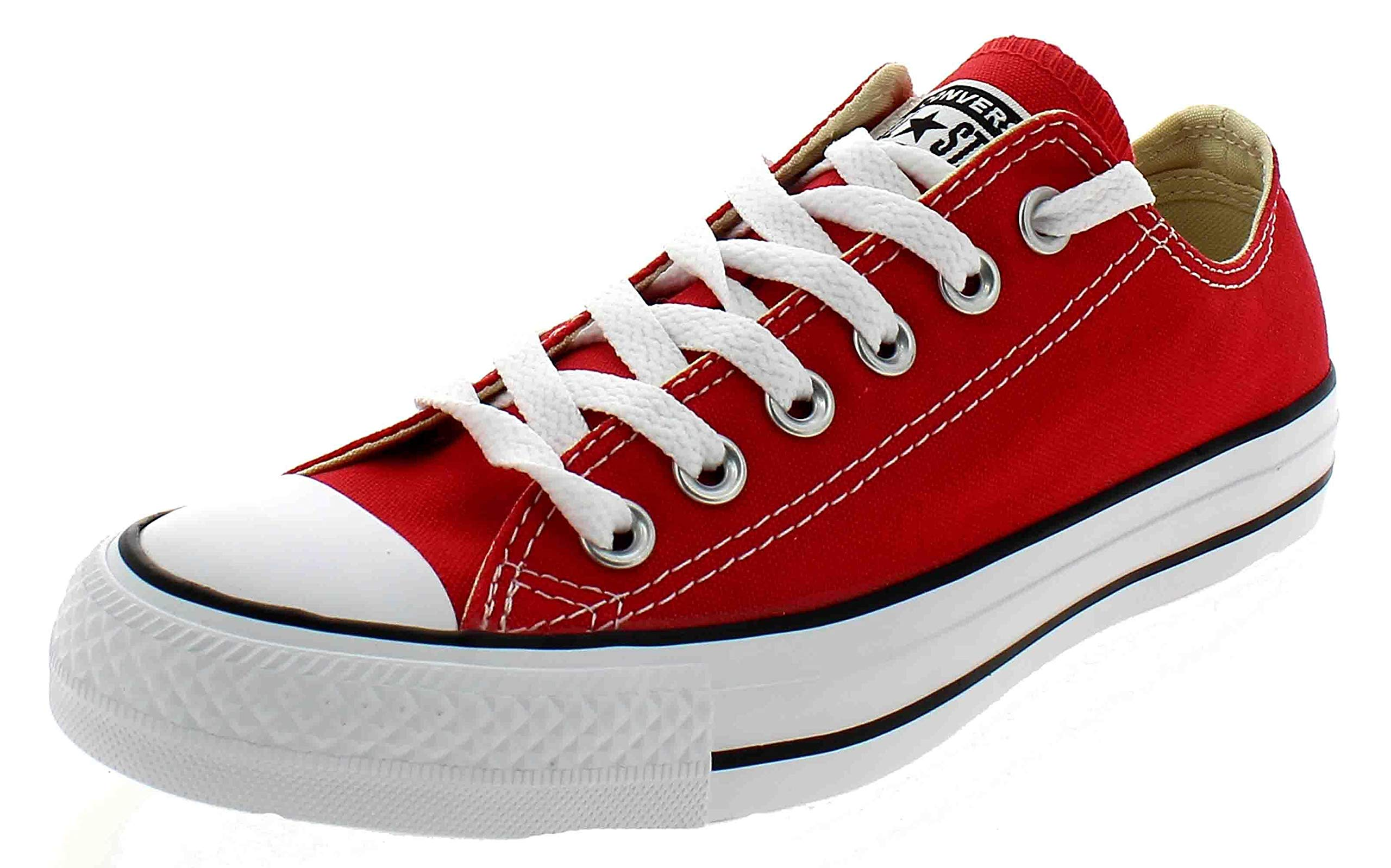 Chuck Taylor All Star Canvas Low Top Sneaker,Red,4.5 US Men/6.5 US Women